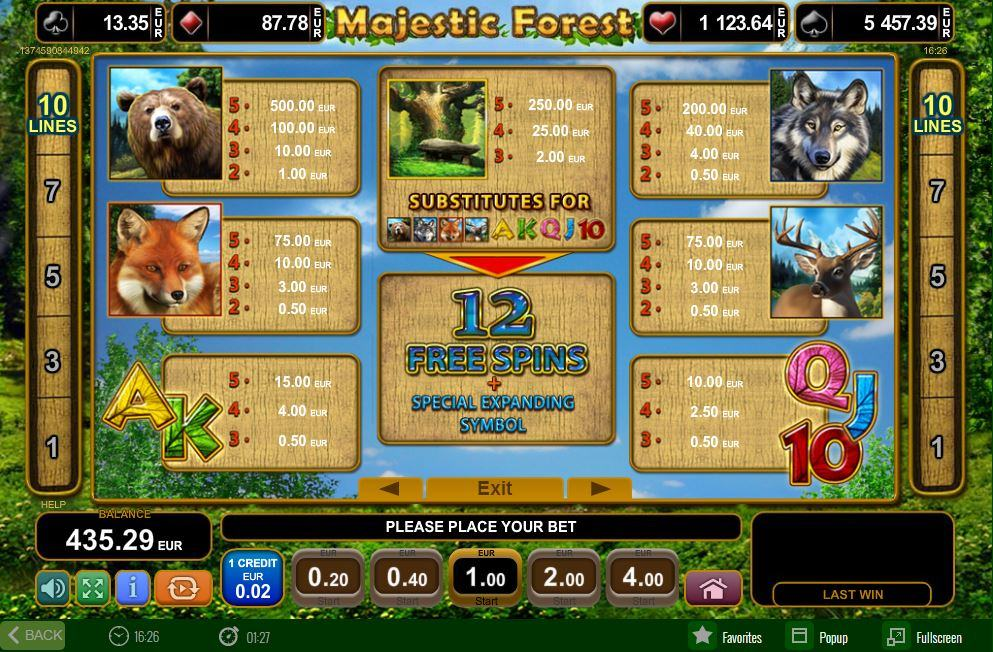 Paylines online slot Majestic Forest