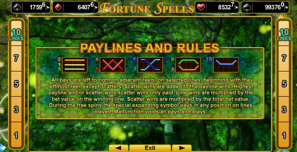 Paylines online slot Fortune Spells