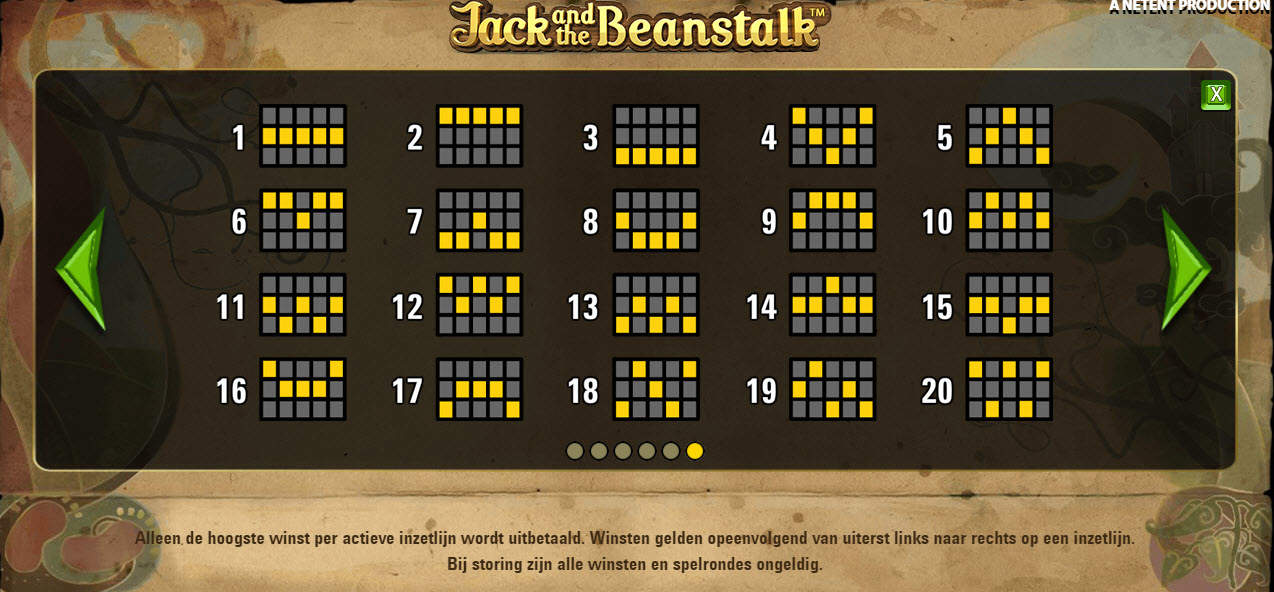 Paylines online slot Jack and the Beanstalk