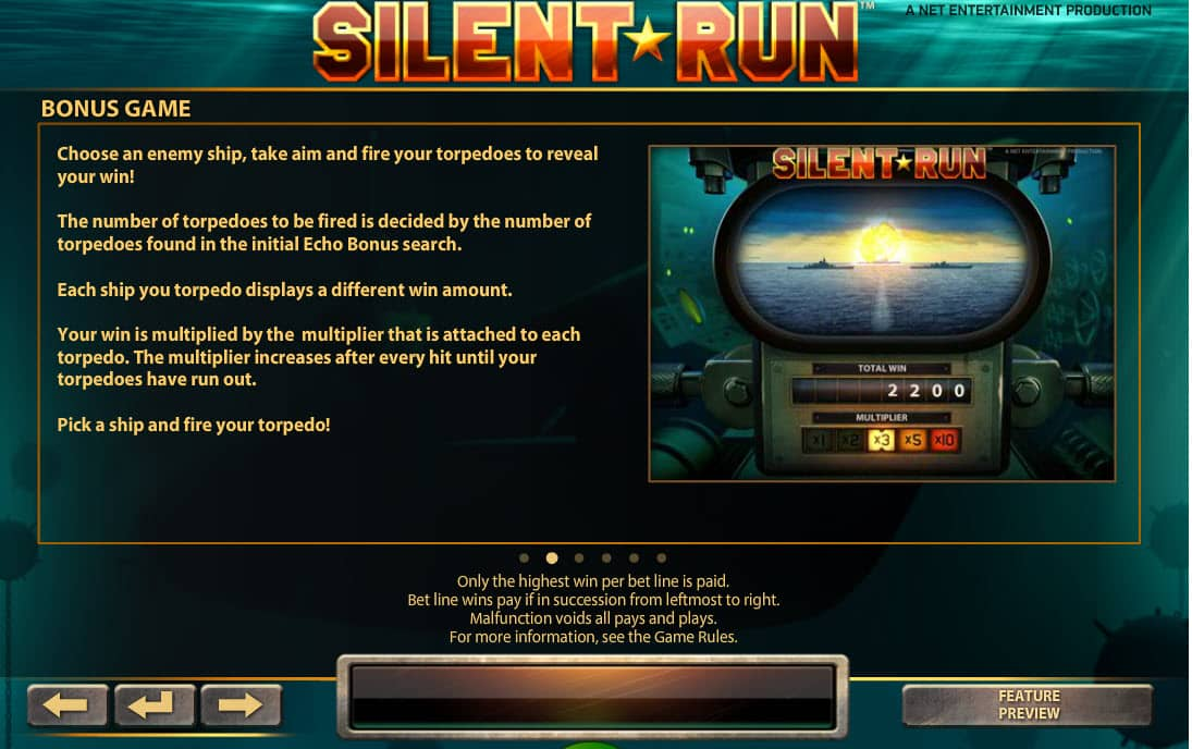 Uitleg bonus game online slot Silent Run
