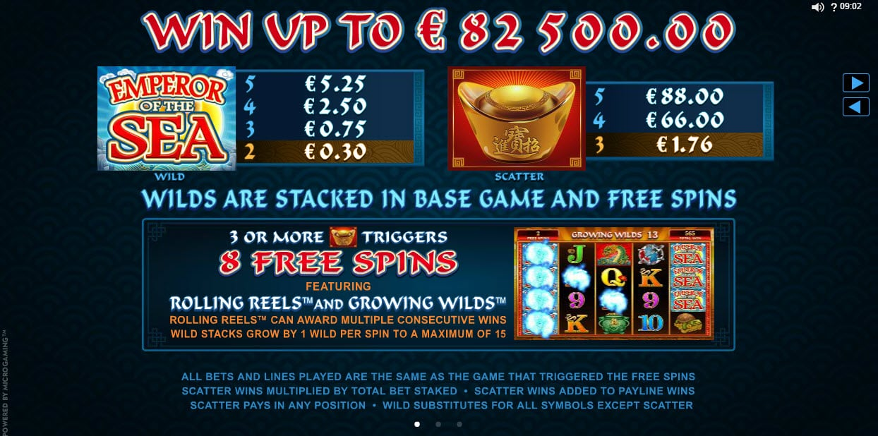 Uitleg free spins online slot Emperor of the Sea
