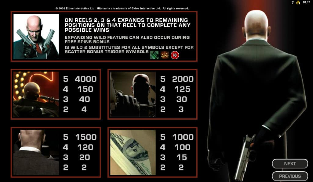 Paytable online slot Hitman