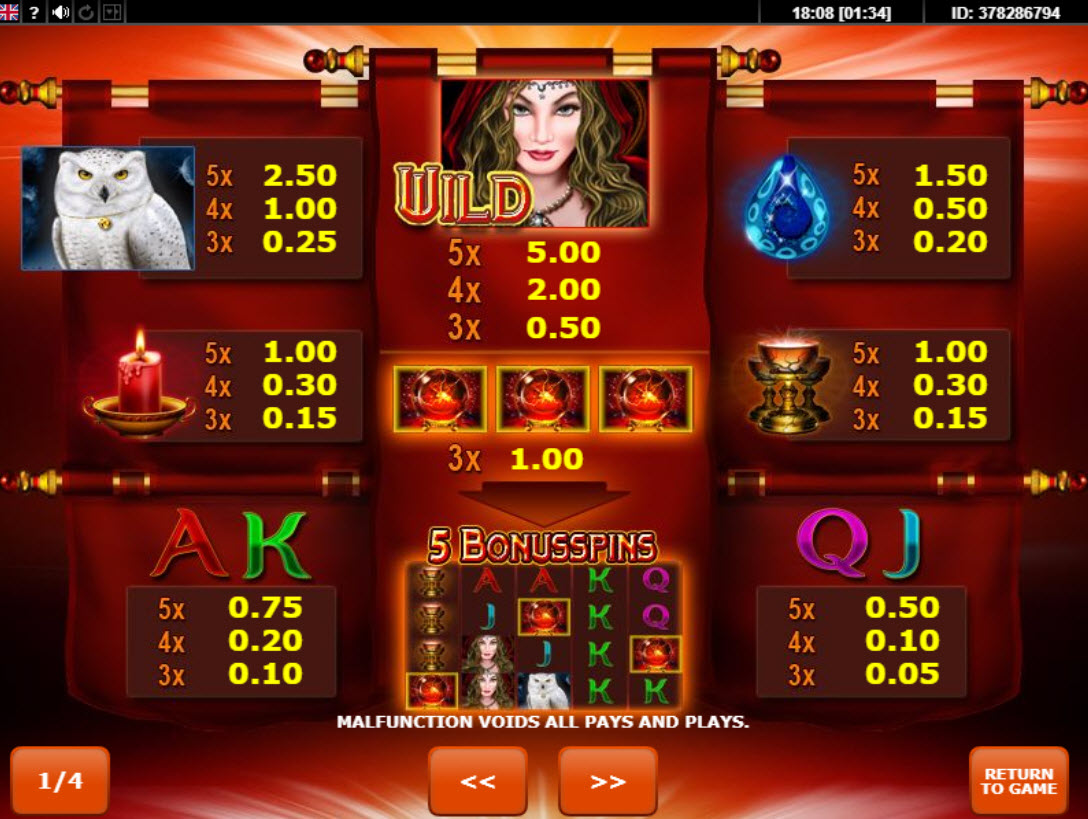 Paytable online slot Magic Owl