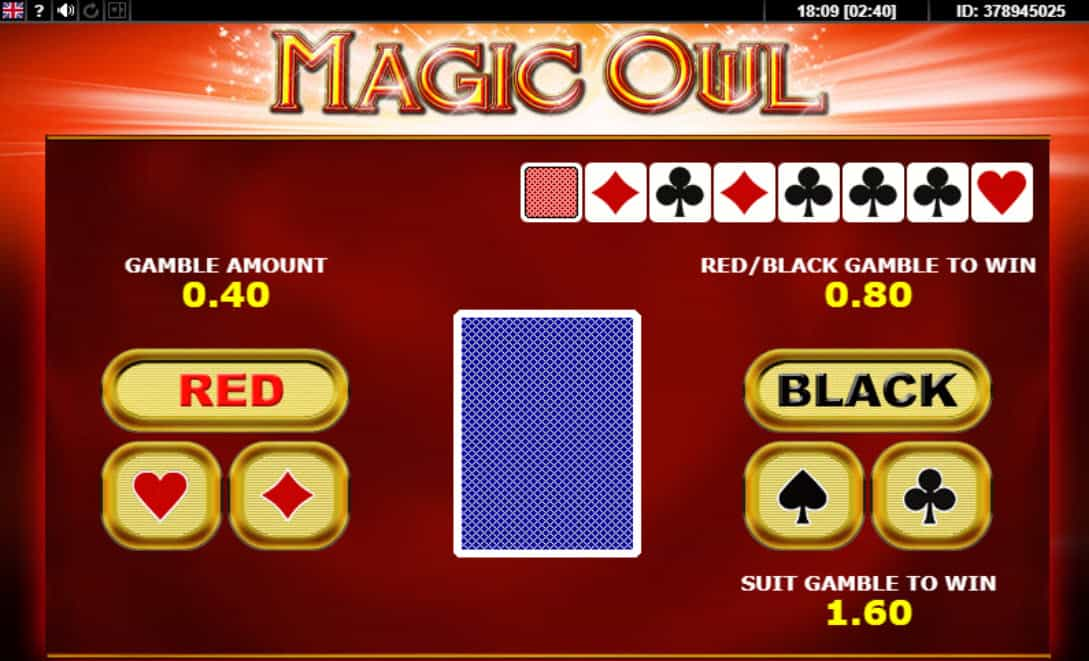 Uitleg gamble feature online slot Magic Owl